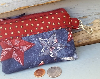 Americana Coin Purse, Star Change Wallet, Ear Bud Pouch, Patriotic Change Purse, Star Pouch, credit card pouch