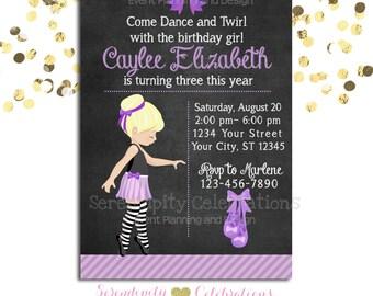 Ballerina Chalkboard Invitation, Birthday Invitation, Baby Shower Invitation, Birthday Invite, Ballet Recital Invite Purple Ballerina Invite