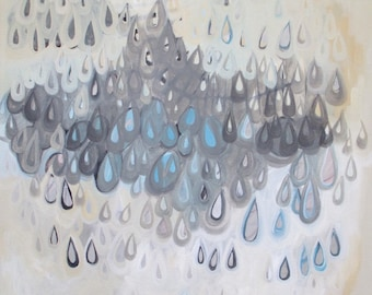 Chandelier painting, abstract rain painting, original acrylic painting, gray rain painting