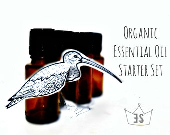 Essential Oil Set - Organic Essential Oil Starter Kit - Essential Oil Sampler - Lavender, Geranium, Peppermint, Orange, Tea Tree