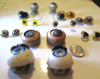 Collection Doll's Eyes Antique Taxidermy Blown Glass Weighted Sleeping French German 19th C Pairs