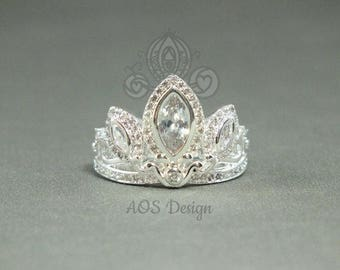 Rapunzel Tangled Crown Crystals 925 Sterling Silver Tiara Princess Ring Engagement for Halloween Costume