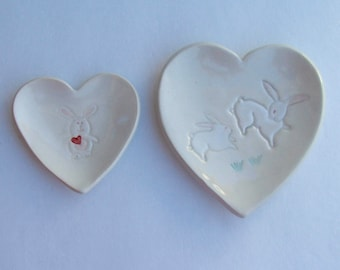 Valentine, Set of Two, Pretty Ceramic Heart Plates,  Hand Built Hand Painted Bunny