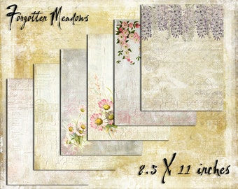Digital Paper Pack Forgotten Meadows 8.5x11, downloadable printables