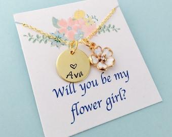 Flower Girl Necklace, Flower Girl Gift, Will you be my flower girl, Flower Girl Jewelry, Personalized Flower Girl Necklace, Gold flower girl