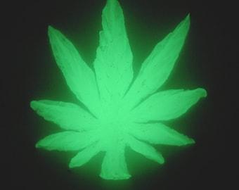 Green Glow-in-the-Dark Large Cannabis Leaf II
