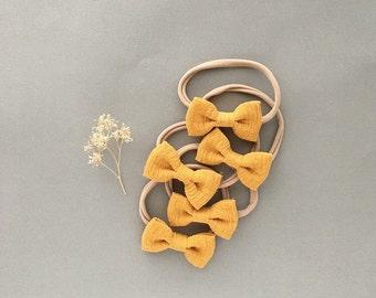 Headband- Dainty Headband    Mustard Dainty Bow