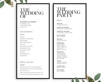 Printable Wedding Program, Minimalist Wedding Program Printable Template, Modern Printable Wedding Programs PDF Template Instant Download