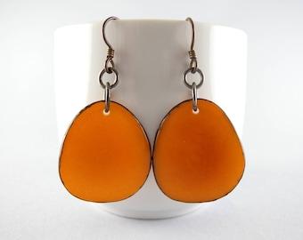Sunset Orange Tagua Nut Eco Friendly Earrings with Free USA Shipping  #taguanut #ecofriendlyjewelry