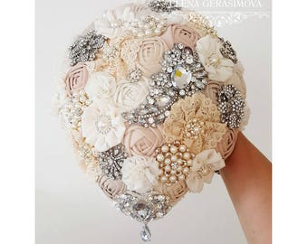 Brooch Bouquet, Ivory teardrop Fabric Bouquet, rustic Unique Wedding Bridal Bouquet