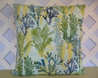 Ocean Coral Outdoor Pillow Cover Blue and Green / Ocean Coral Pillow / Blue Green Pillow / Accent Pillow / Patio Pillow / 18 x 18 Pillow