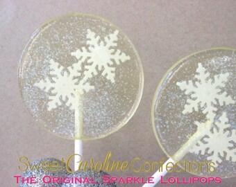 Snowflake Lollipops, Frozen Favors, Sparkle Lollipops, Candy Lollipops, Party Favors, Lollipops, Sweet Caroline Confections-6/Set