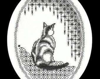 Digital Download of Beginners Embroidery Pattern - Cross-Stitch Meets Blackwork Cat - Contemplation - Beginners Hand Embroidery Pattern