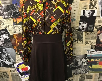 Vintage 1970's Midi Dress Brown Yellow Abstract Pattern Bow Balloon A line Psychedelic Size UK 14 Free UK & Cheap Worldwide Postage
