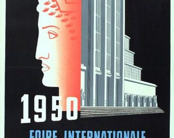 Vintage 1950 Brussels International Fair Poster A3 Print