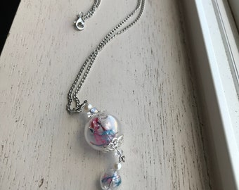 Double globe real dandelion seed necklace