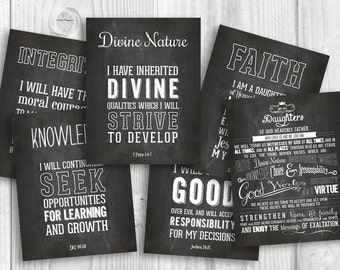 LDS Young Women chalkboard values printable