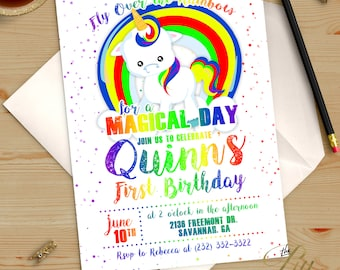 Rainbow Magical Unicorn Birthday Invitation Printable DIY No. I299
