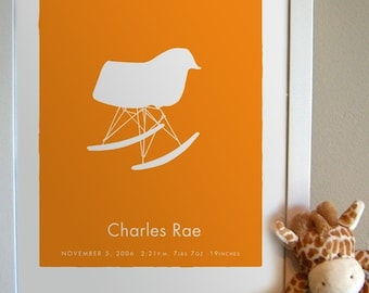 Eames Rocker - Baby Name Birth Date Keepsake Print Personalized for your modern kid