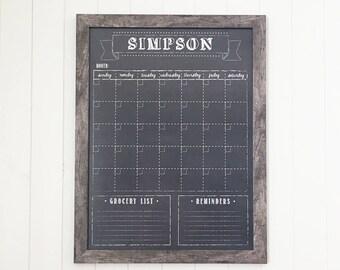 Chalkboard Calendar, Dry Erase 18x24 Calendar, Optional Magnetic Calendar #1841