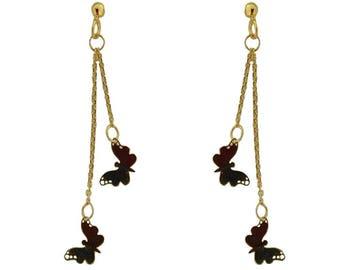 18kt Yellow Gold 2 Dangle Butterfly Earrings (L 48mm)