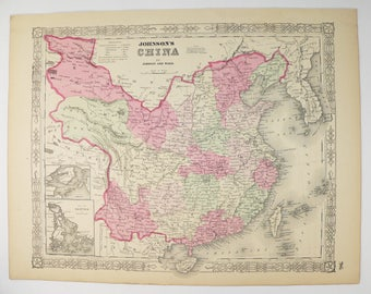 Vintage taiwan map etsy antique map china taiwan map korea 1864 johnson china map chinese decor wall art map gumiabroncs