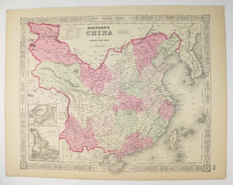 Vintage taiwan map etsy antique map china taiwan map korea 1864 johnson china map chinese decor wall art map gumiabroncs Image collections