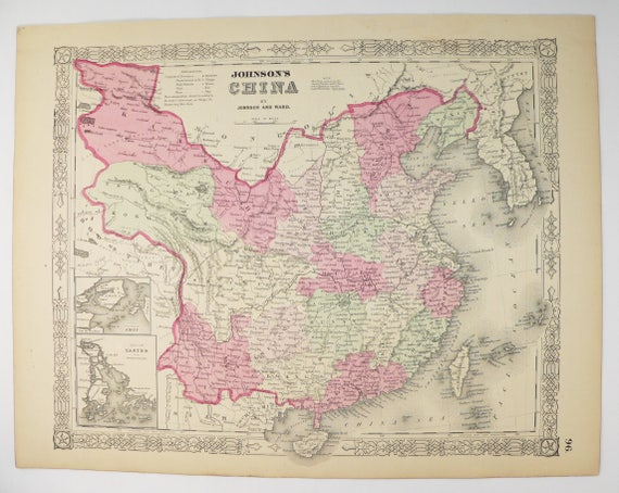 Antique map china taiwan map korea 1864 johnson china map gumiabroncs Choice Image