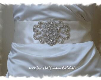 Bridal Belt, Vintage Inspired Beaded Rhinestone Crystal Bridal Sash, Rhinestone Wedding Dress Belt, Wide Jeweled Wedding Sash, No. 2011S1171