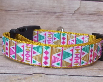 Tribal Dog Collar / Aztec Dog Collar / Southwestern Collar / Girl Dog Collar / Aqua Dog Collar / Gold Dog Collar / Pink Dog Collar /Dog Gift