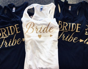 Bride Tribe Tanks, Flowy Tank, Gold Glitter