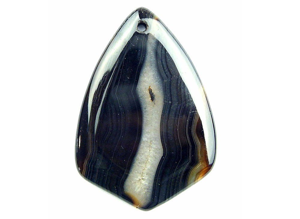 Black brown stripes agate shield pendant focal bead 54x37x5mm aloadofball Image collections