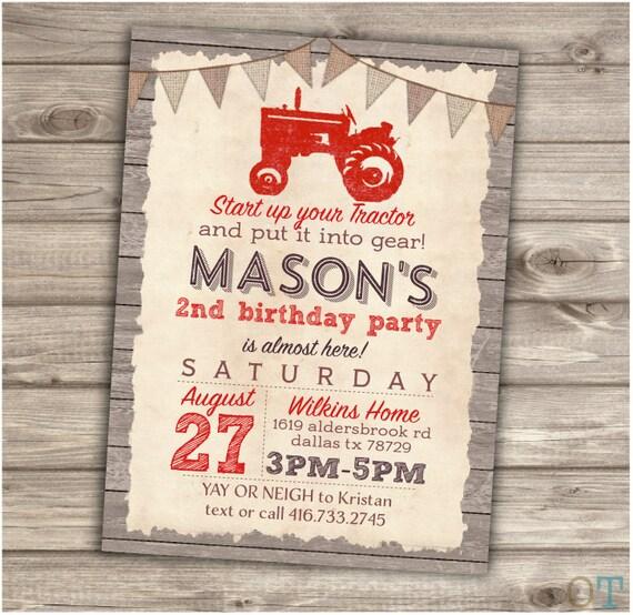 Red tractor birthday printable invitation rustic wood farm like this item filmwisefo Gallery