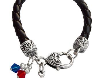 Personalized, Baseball Bracelet,Team Colors, Black Leather Bracelet,Swarovski Bracelet,Baseball Grandma,Grandma Bracelet, (Made to Order)