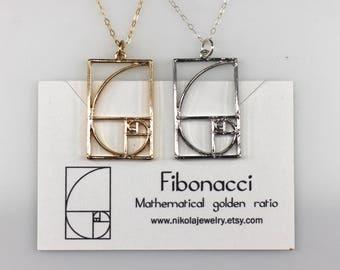 Fibonacci Golden Spiral Silver or Gold Necklace, Math Jewelry, Wearable Mathematics, Irrational Jewelry, Math Necklace, Gold Fibonacci