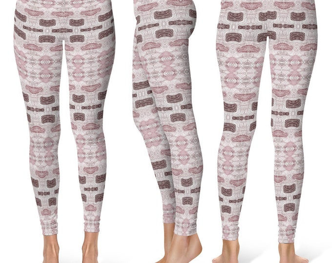 Whimsical Leggings Yoga Pants, Printed Yoga Tights for Women, Wine and Rose Abstract Art