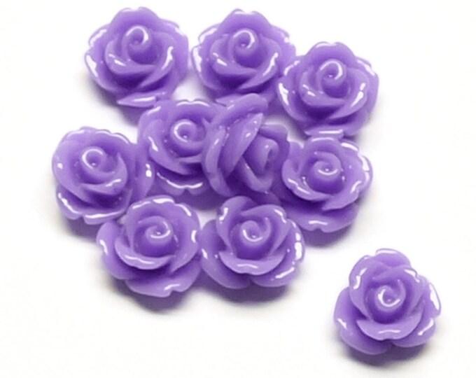 CLOSEOUT - Resin Cabochon, Rose 10mm, Lavender - 50 Pieces (RSCRS-10LV)