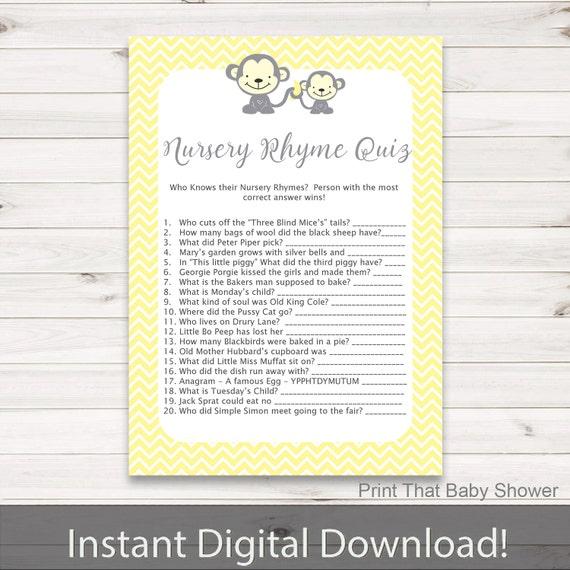 Baby Shower Games Nursery Rhyme Quiz Game Yellow Monkey