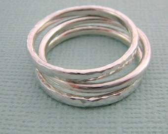 Silver Hammered Rings.  Sterling Silver Hammered Stacker Rings. Silver Stacking rings. Silver Hammered band. Handcrafted Jewelry by ZaZing