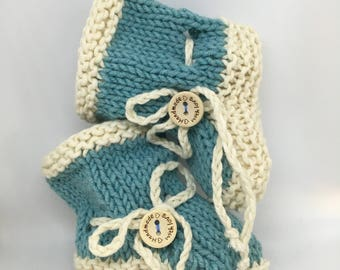 Blue cotton booties