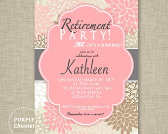 Surprise Retirement Party Invitation Pink Adult Surprise Party Invite Floral Party Party Invite - Printable Personalized JPG File Invite (8)