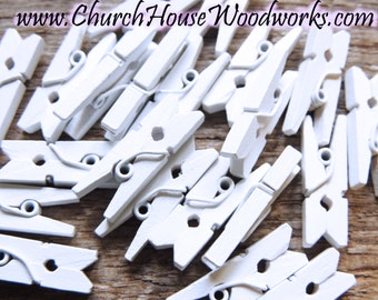 "White Clothespins, Wood Clothespins, Tiny Clothespin, clothes pegs, Small Clothespin, 1"" clothespin, craft supplies diy"