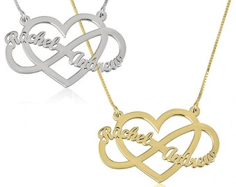 Infinity Heart Name Necklace, Multiple Name Necklace, Sterling Silver, Gold or Rose Gold Plated, Kids Name Necklace, Infinity Necklace