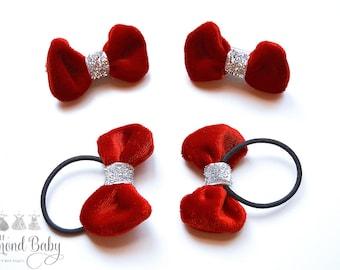 Velvet Toddler Hair Accessories- Velvet Kids Clips- Velvet Ponytail Bows- Velvet Bows- Velvet Bow Clips- Children Hair Accessories