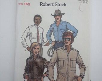 Button down shirt/ Mens shirt /sewing pattern / vintage / Western Shirt /1980s/Chest 40, Waist 34, Hip 41, Neckband 15, Butterick 6751