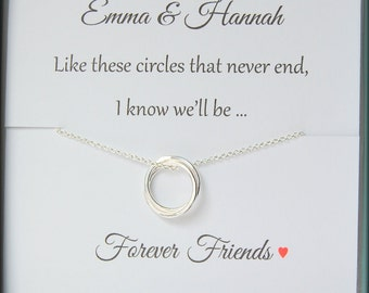 Friendship necklace, friendship jewelry, best friends, connecting circles, sterling silver, BFF, Birthday, Christmas gift for friend