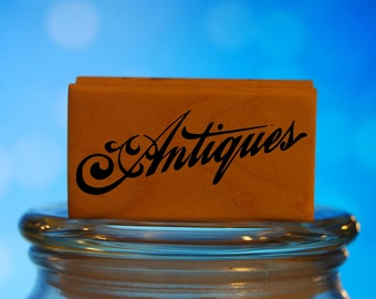 Antiques Rubber Stamp Mounted Wood Block Art Stamp