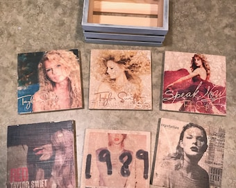 Taylor Swift Album Cover Coasters with Rustic Crate Holder - Fearless, Speak Now, Red, 1989, Reputation