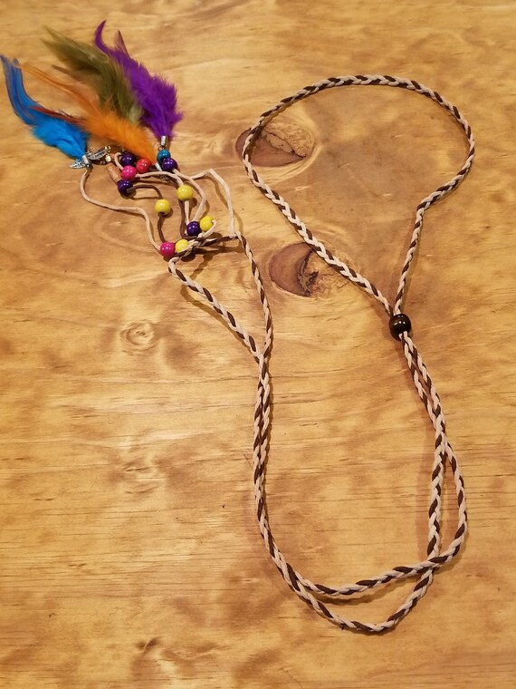 Multi Color Feather Headdress Native American Style Fashion Boho Hippie Headband Outdoor Nature Earth (H6)