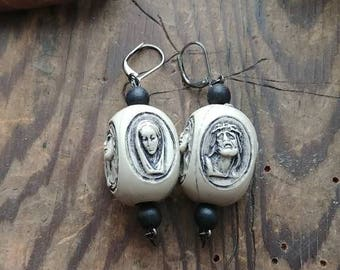 Vintage Rosary Bead Earrings- goth, alternative, punk, vintage, burlesque, religious iconography